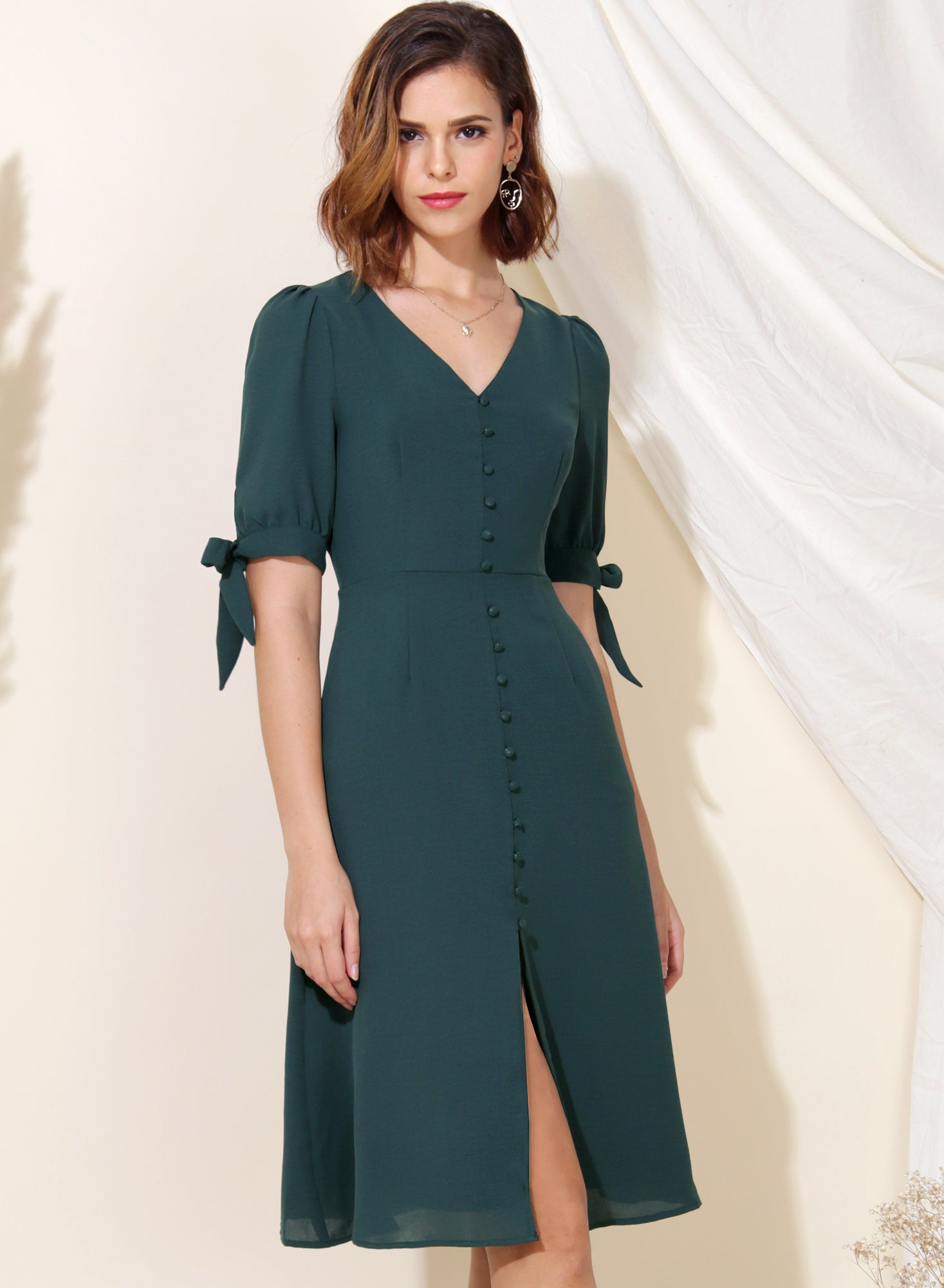 Liberty Tie Sleeves Midi Dress (Forest) at $ 45.00 only sold at And Well Dressed Online Fashion Store Singapore
