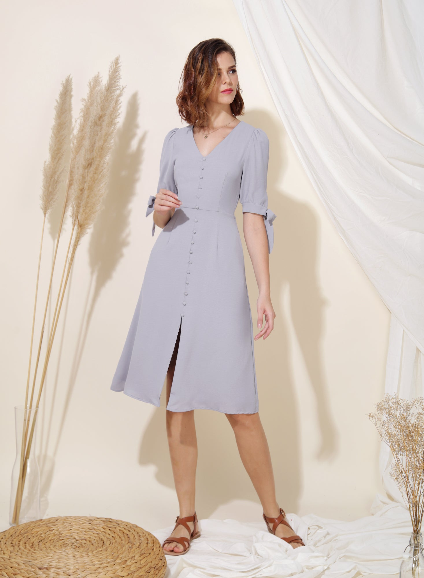 Liberty Tie Sleeves Midi Dress (Lilac Grey) - And Well Dressed