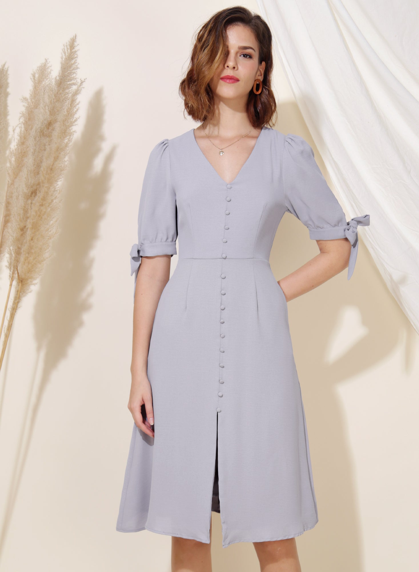 Liberty Tie Sleeves Midi Dress (Lilac Grey)