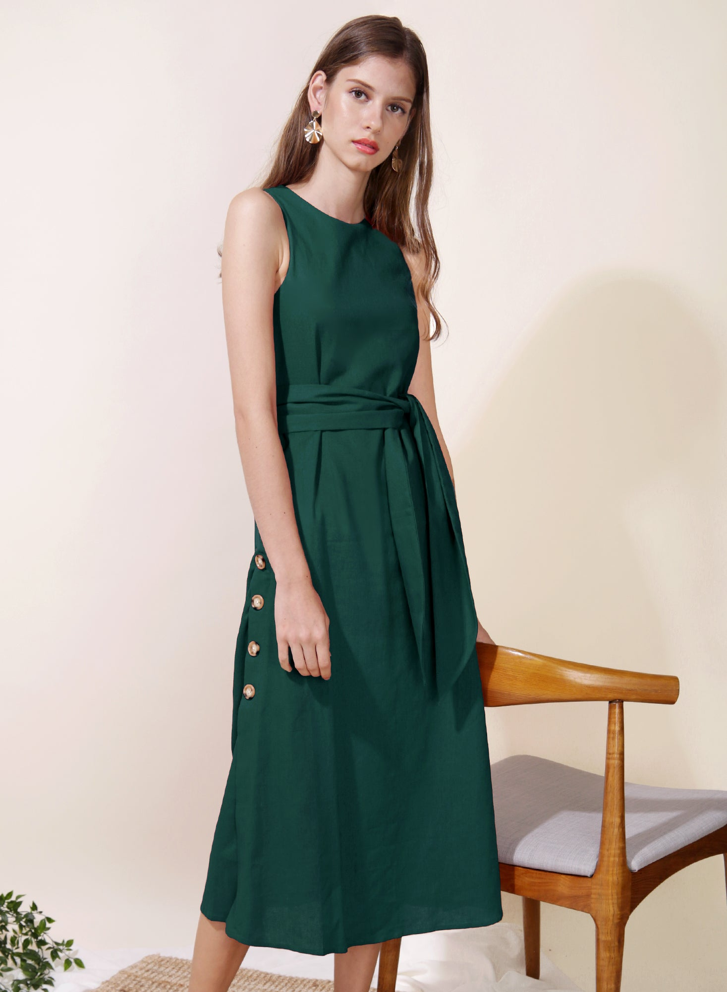 Philosophy Button Sides Midi Dress (Forest)