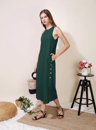 Philosophy Button Sides Midi Dress (Forest) - And Well Dressed