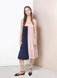 ALCHEMY Duo Tone Pleated Dress (Navy) at $ 22.50 only sold at And Well Dressed Online Fashion Store Singapore