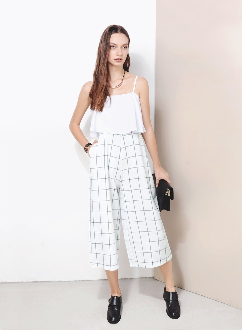 VESTIGE Checkered Culottes Jumpsuit (White) - And Well Dressed