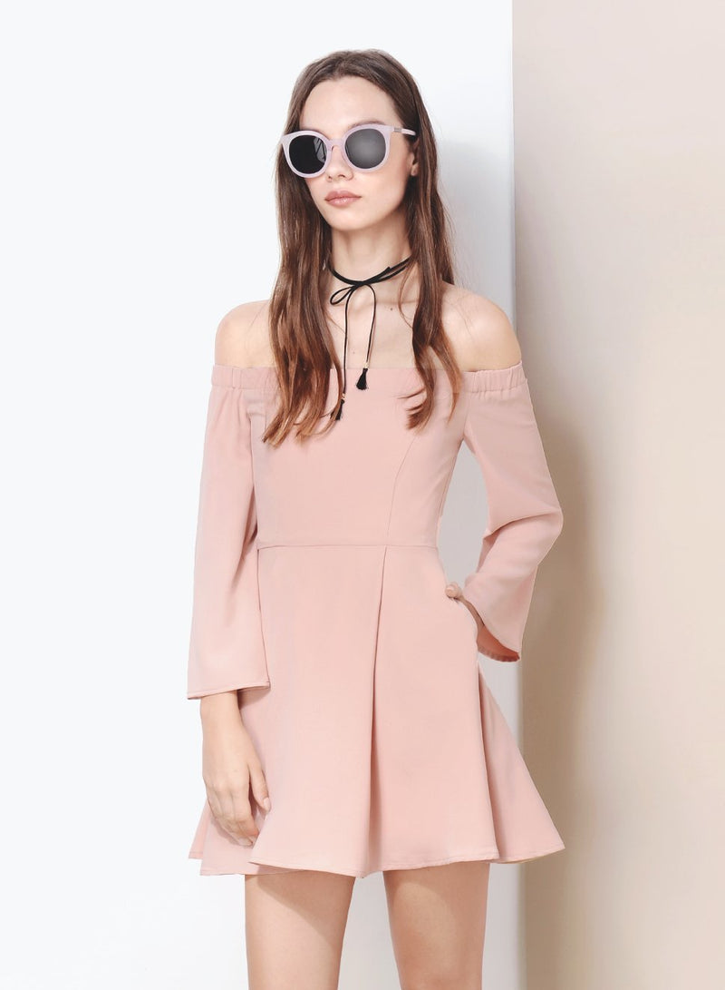 SPELLBOUND Off Shoulder Flare Dress (Blush) at $ 21.50 only sold at And Well Dressed Online Fashion Store Singapore