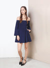 SPELLBOUND Off Shoulder Flare Dress (Navy) at $ 21.50 only sold at And Well Dressed Online Fashion Store Singapore