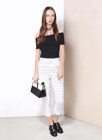 NUANCE Straight Cut Grid Pants (White) at $ 36.00 only sold at And Well Dressed Online Fashion Store Singapore