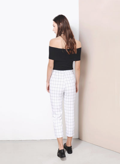NUANCE Straight Cut Grid Pants (White) - And Well Dressed