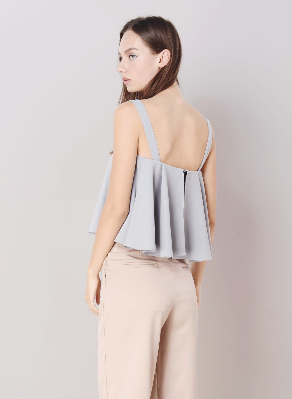 CASCADE Pleated Flare Top (Lilac Grey) at $ 21.00 only sold at And Well Dressed Online Fashion Store Singapore