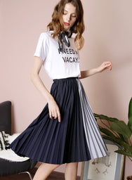ENCHANT Contrast Stripes Pleated Skirt (Navy) at $ 36.50 only sold at And Well Dressed Online Fashion Store Singapore