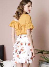 TWILIGHT Floral Ruffle Skirt (White) at $ 36.50 only sold at And Well Dressed Online Fashion Store Singapore