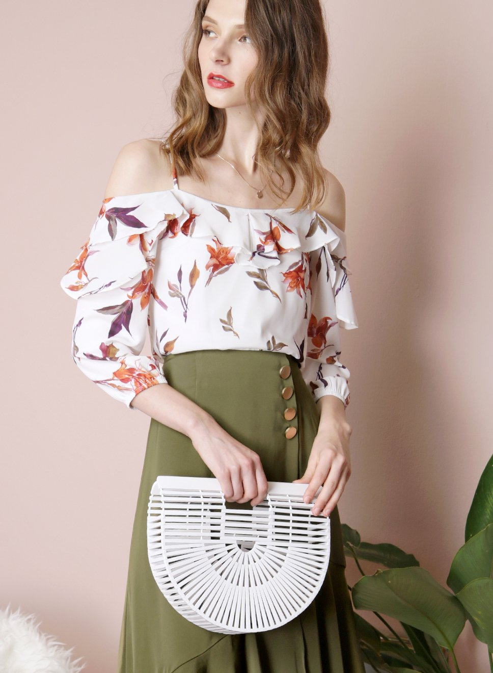 DUSK Floral Ruffle Top (White) - And Well Dressed