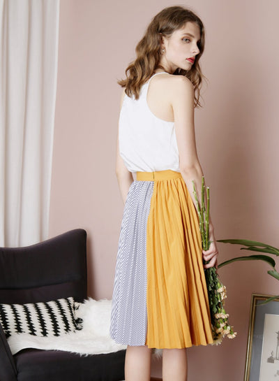 ENCHANT Contrast Stripes Pleated Skirt (Mustard) at $ 27.50 only sold at And Well Dressed Online Fashion Store Singapore