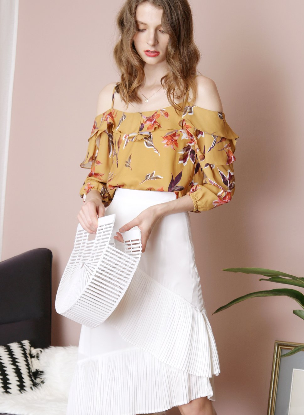 DUSK Floral Ruffle Top (Mustard) - And Well Dressed