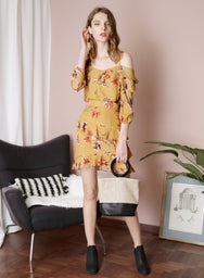 TWILIGHT Floral Ruffle Skirt (Mustard) at $ 27.50 only sold at And Well Dressed Online Fashion Store Singapore