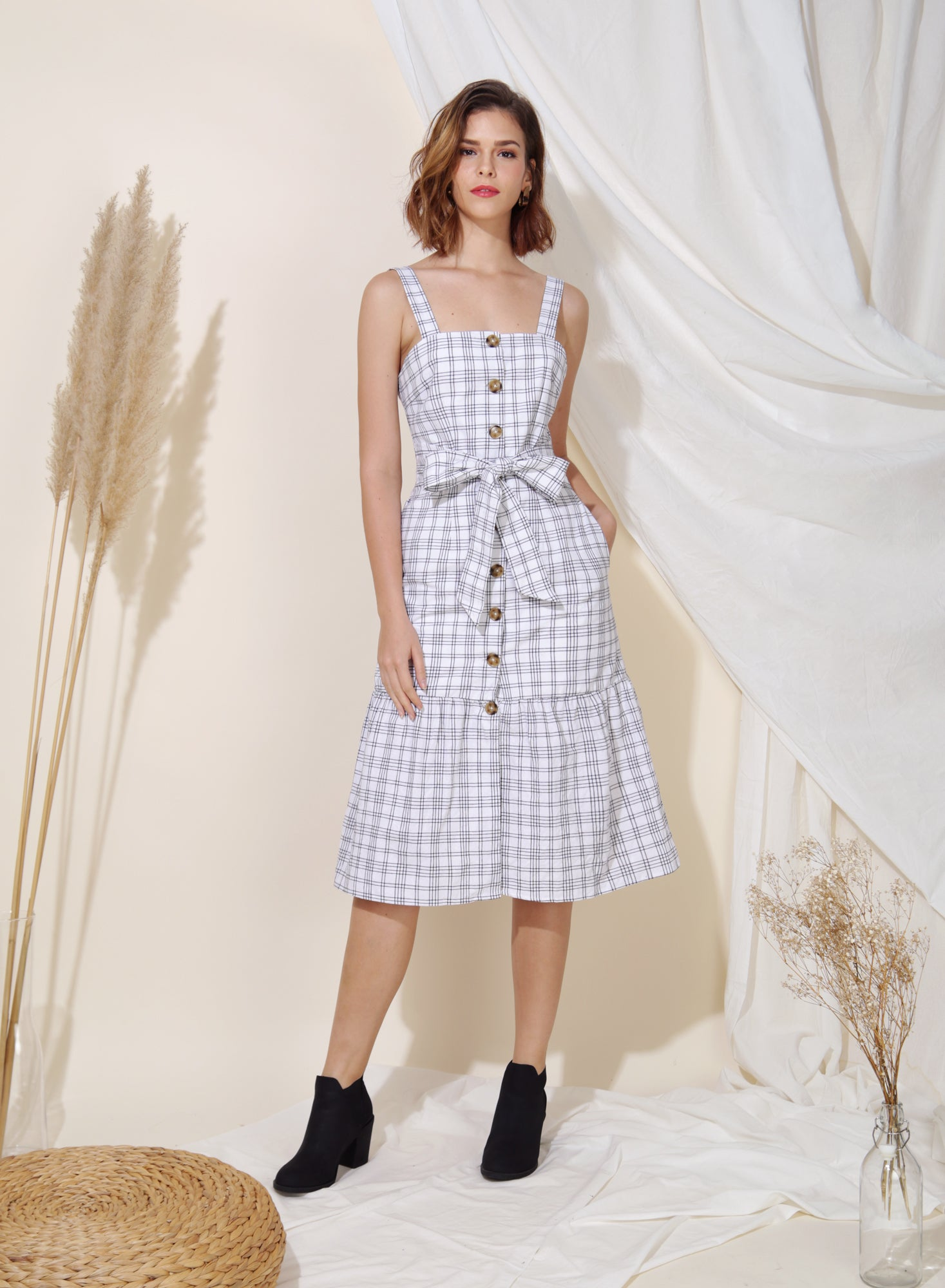 Infinity Button Down Checks Dress (White) at $ 45.00 only sold at And Well Dressed Online Fashion Store Singapore