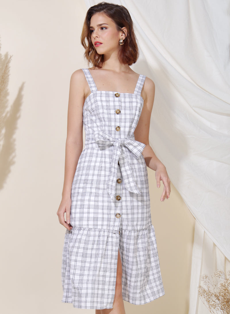 Infinity Button Down Checks Dress (White)