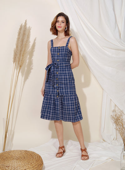 Infinity Button Down Checks Dress (Navy) - And Well Dressed