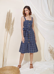 Infinity Button Down Checks Dress (Navy)