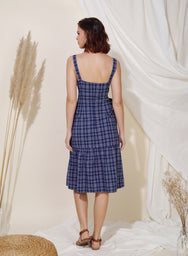 Infinity Button Down Checks Dress (Navy) at $ 45.00 only sold at And Well Dressed Online Fashion Store Singapore