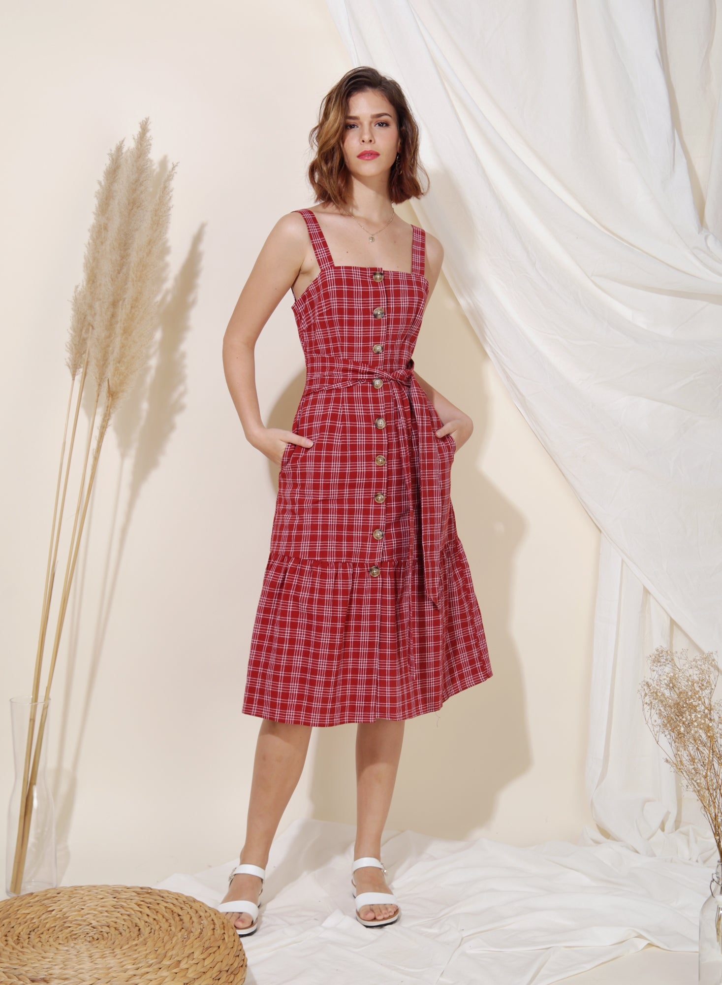 Infinity Button Down Checks Dress (Cherry) at $ 45.00 only sold at And Well Dressed Online Fashion Store Singapore