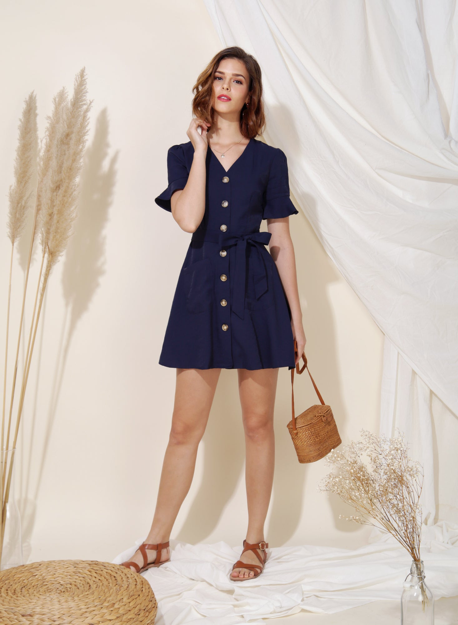 Destiny Button Down Flared Dress (Navy) at $ 43.50 only sold at And Well Dressed Online Fashion Store Singapore