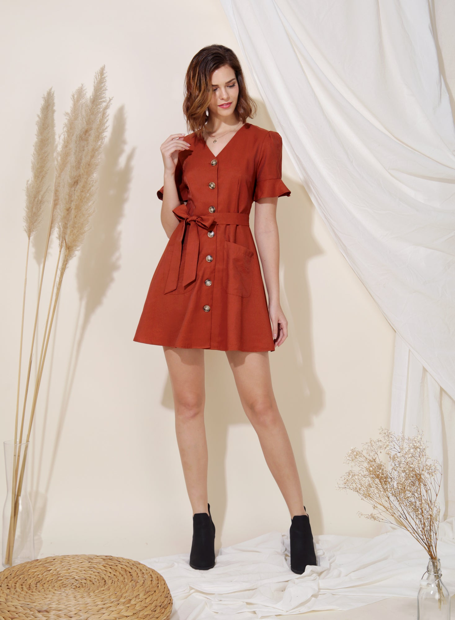 Destiny Button Down Flared Dress (Toffee) at $ 43.50 only sold at And Well Dressed Online Fashion Store Singapore
