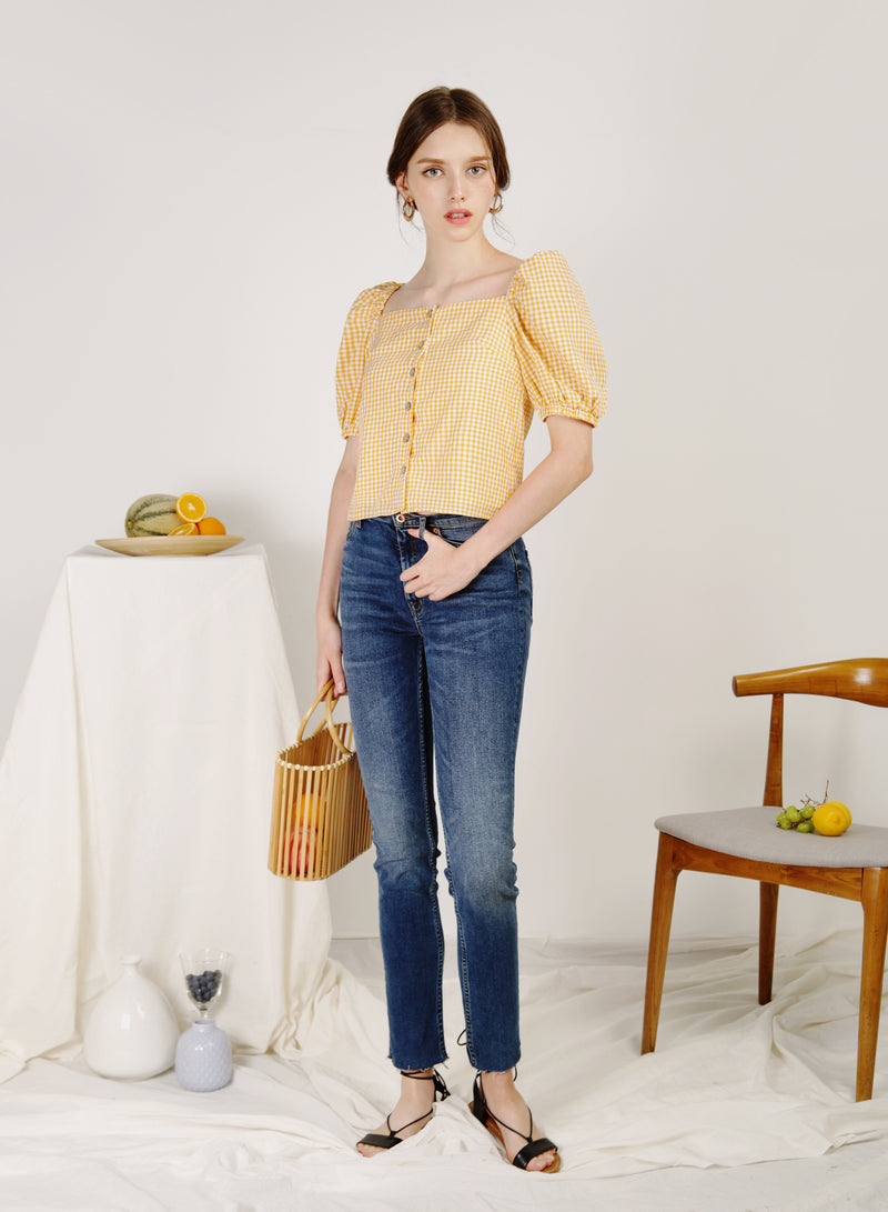 Fest Puff Sleeves Top (Lemon Gingham)