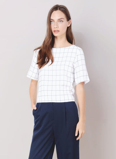 ILLUSION Tie Back Grid Top (White) - And Well Dressed