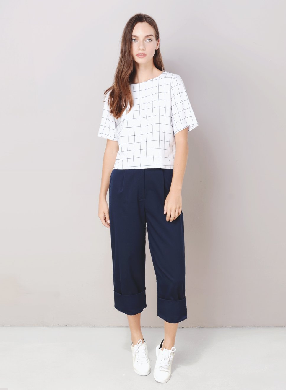 ILLUSION Tie Back Grid Top (White) at $ 21.50 only sold at And Well Dressed Online Fashion Store Singapore