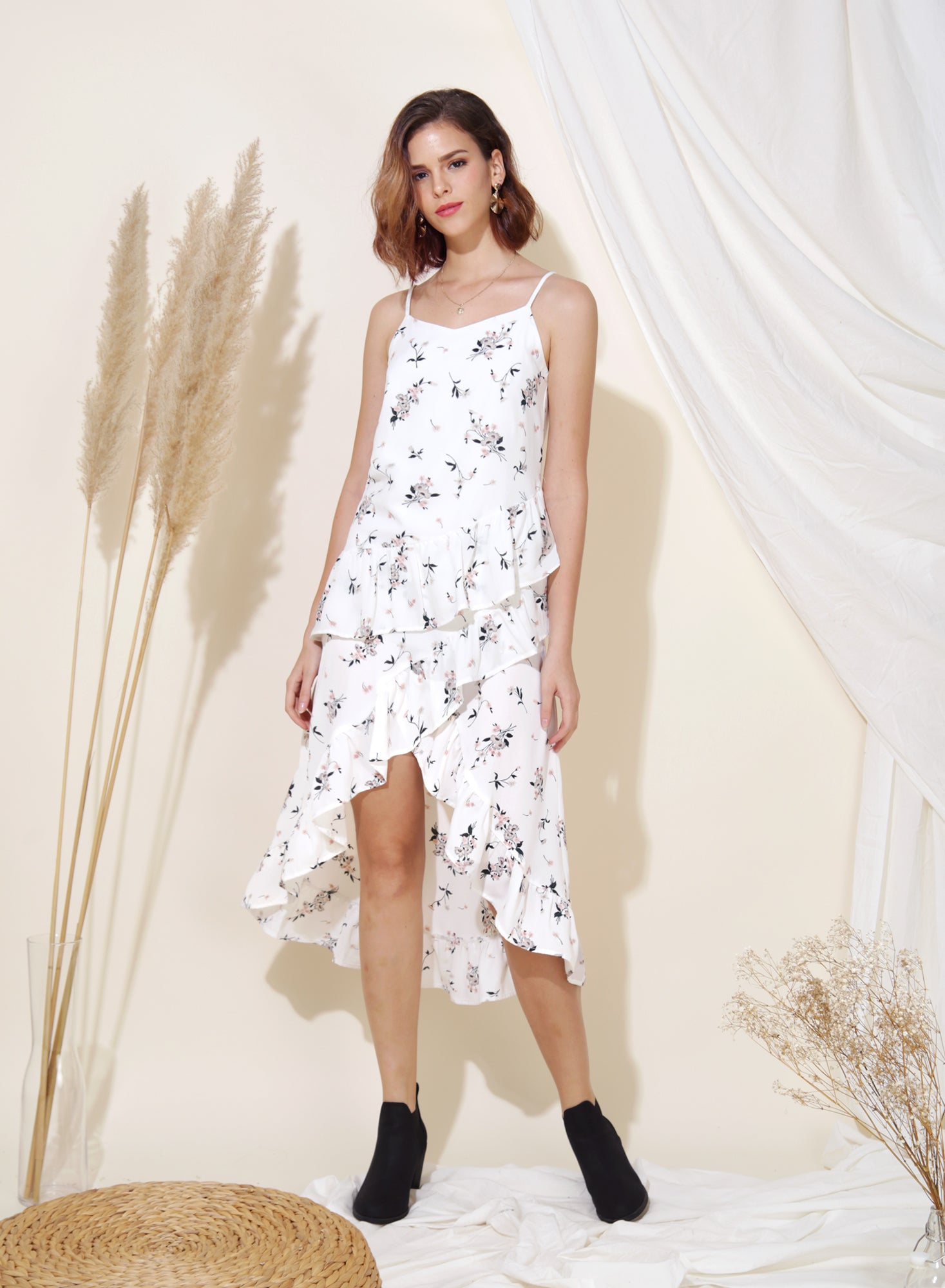 Cosmic Ruffle Tiered Hem Dress (Floral)