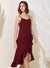 Cosmic Ruffle Tiered Hem Dress (Wine)