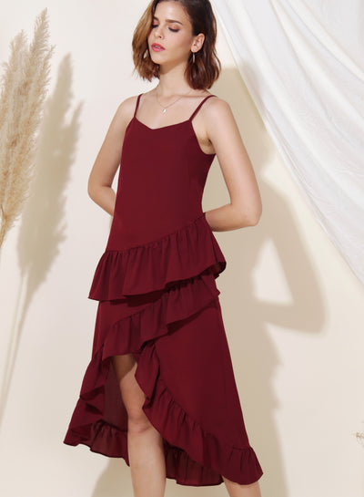 Cosmic Ruffle Tiered Hem Dress (Wine) - And Well Dressed