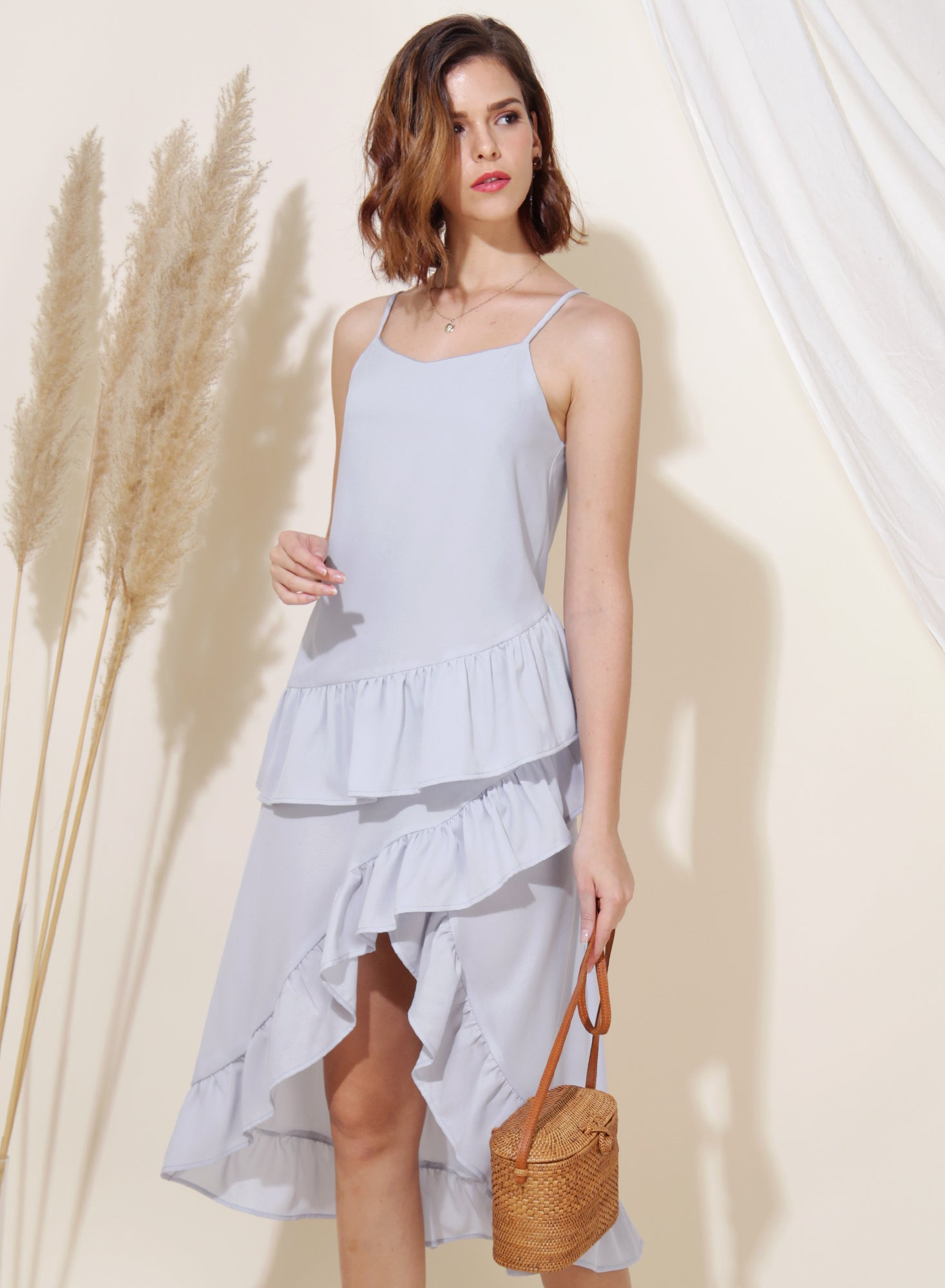 Cosmic Ruffle Tiered Hem Dress (Lilac Grey)