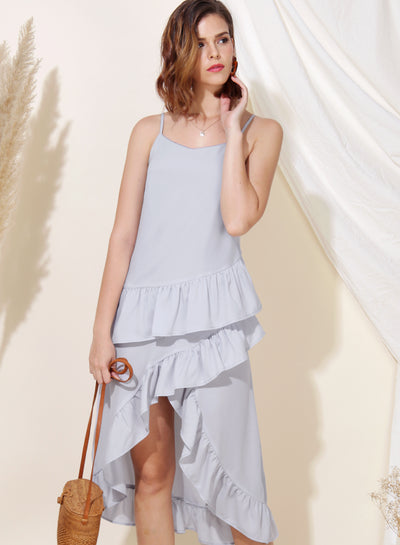 Cosmic Ruffle Tiered Hem Dress (Lilac Grey) at $ 33.50 only sold at And Well Dressed Online Fashion Store Singapore