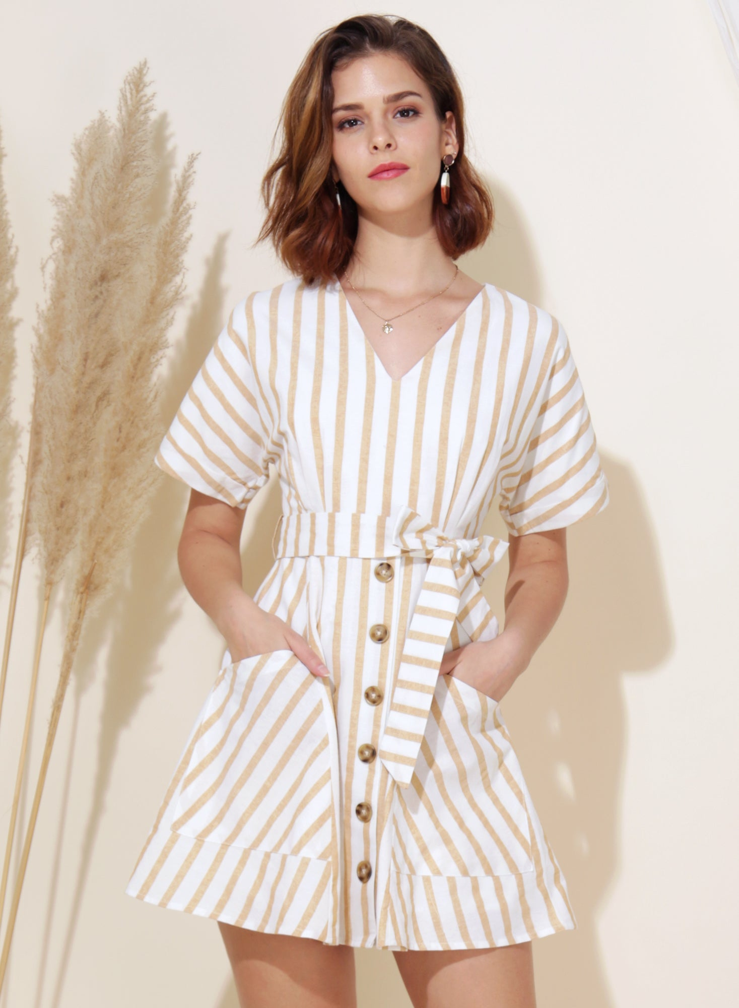Perpetual Striped Flare Dress (Oat)