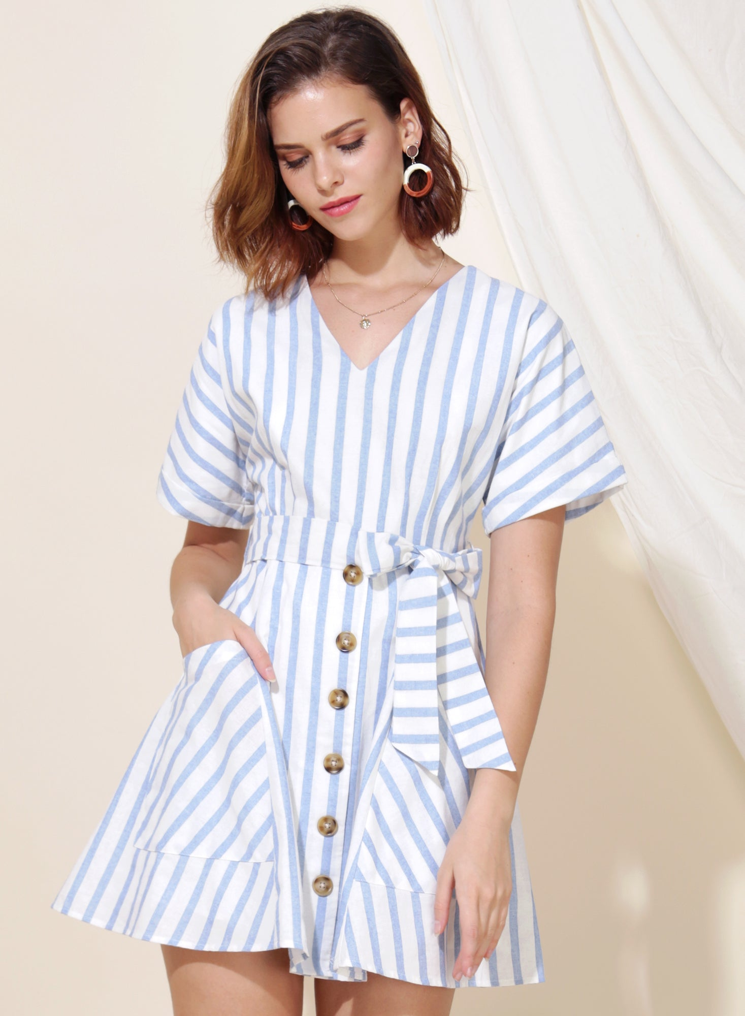 Perpetual Striped Flare Dress (Sky)