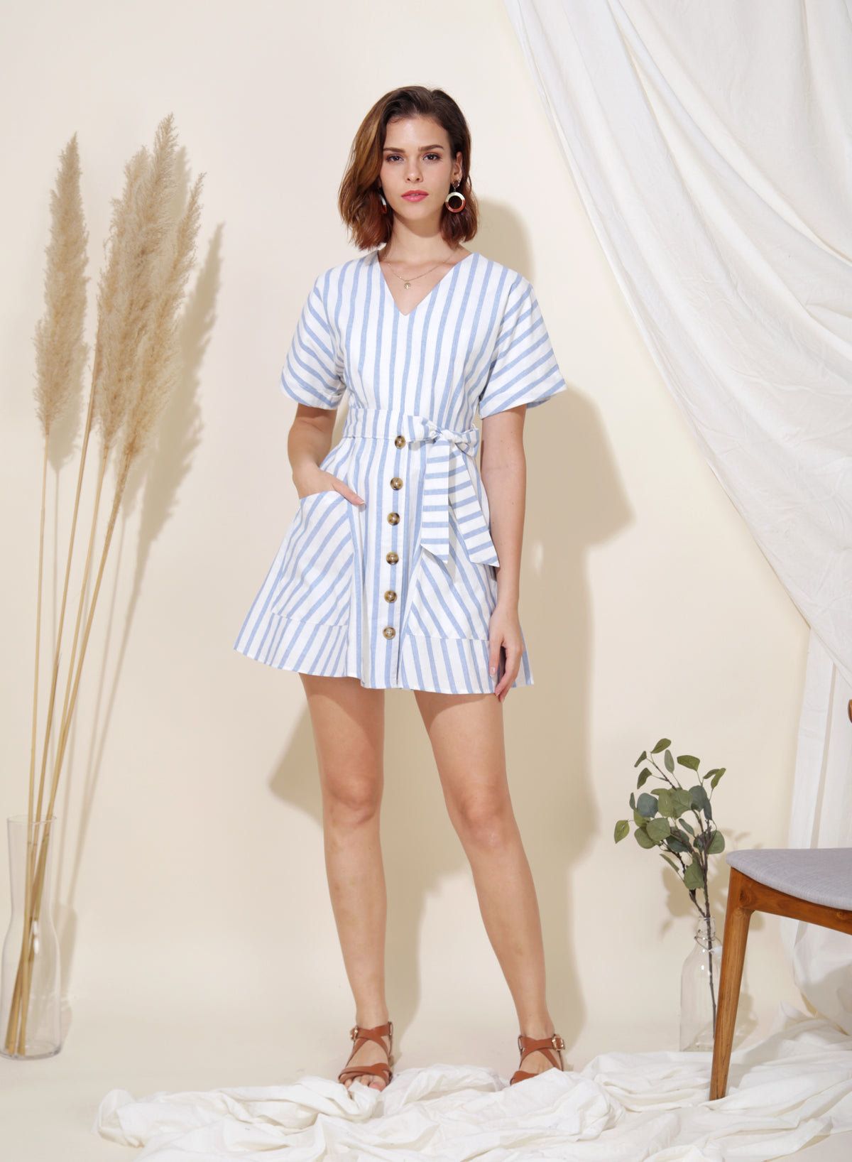 Perpetual Striped Flare Dress (Sky) at $ 43.50 only sold at And Well Dressed Online Fashion Store Singapore