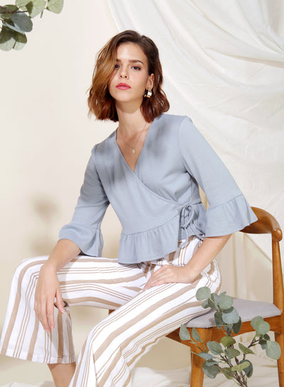 Yonder Ribbed Knit Wrap Top (Dusk Blue) at $ 33.50 only sold at And Well Dressed Online Fashion Store Singapore