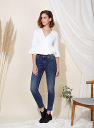 Yonder Ribbed Knit Wrap Top (White) at $ 33.50 only sold at And Well Dressed Online Fashion Store Singapore