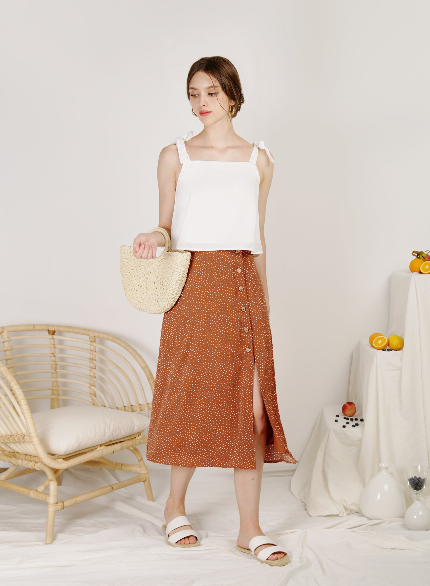 Idyll Button Front Midi Skirt (Latte Polka)