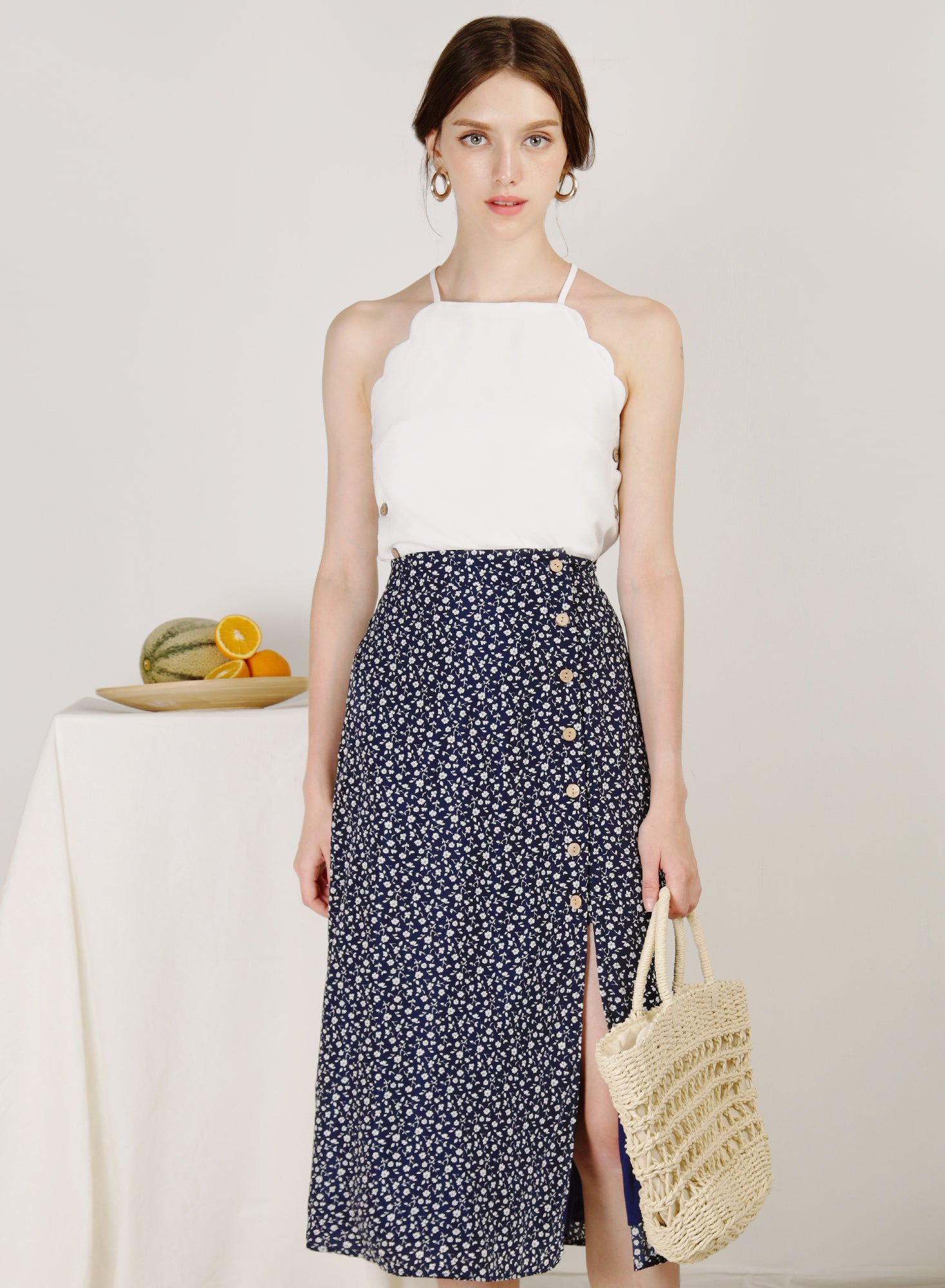 Idyll Button Front Midi Skirt (Mini Florals)