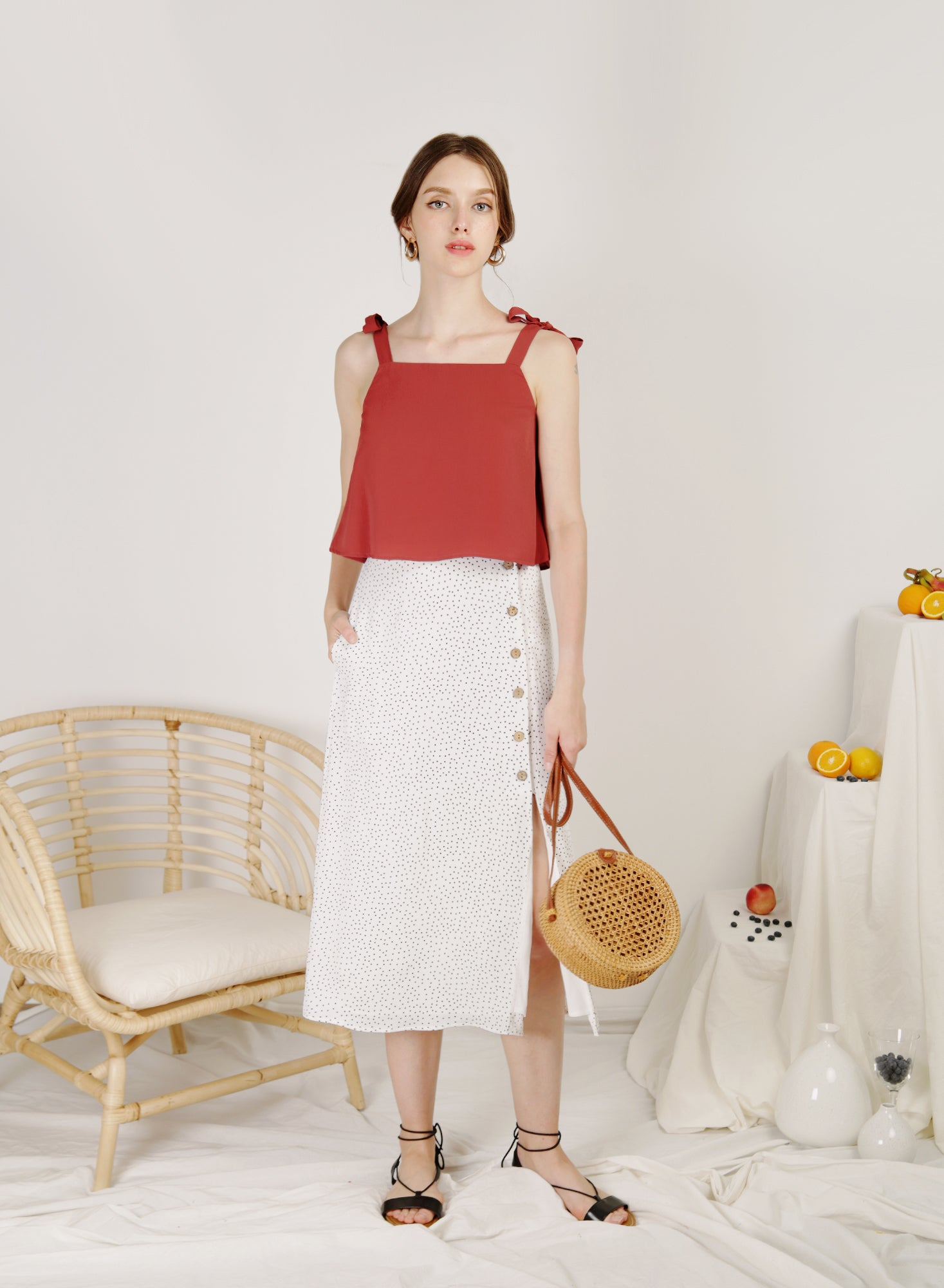 Idyll Button Front Midi Skirt (White Polka)
