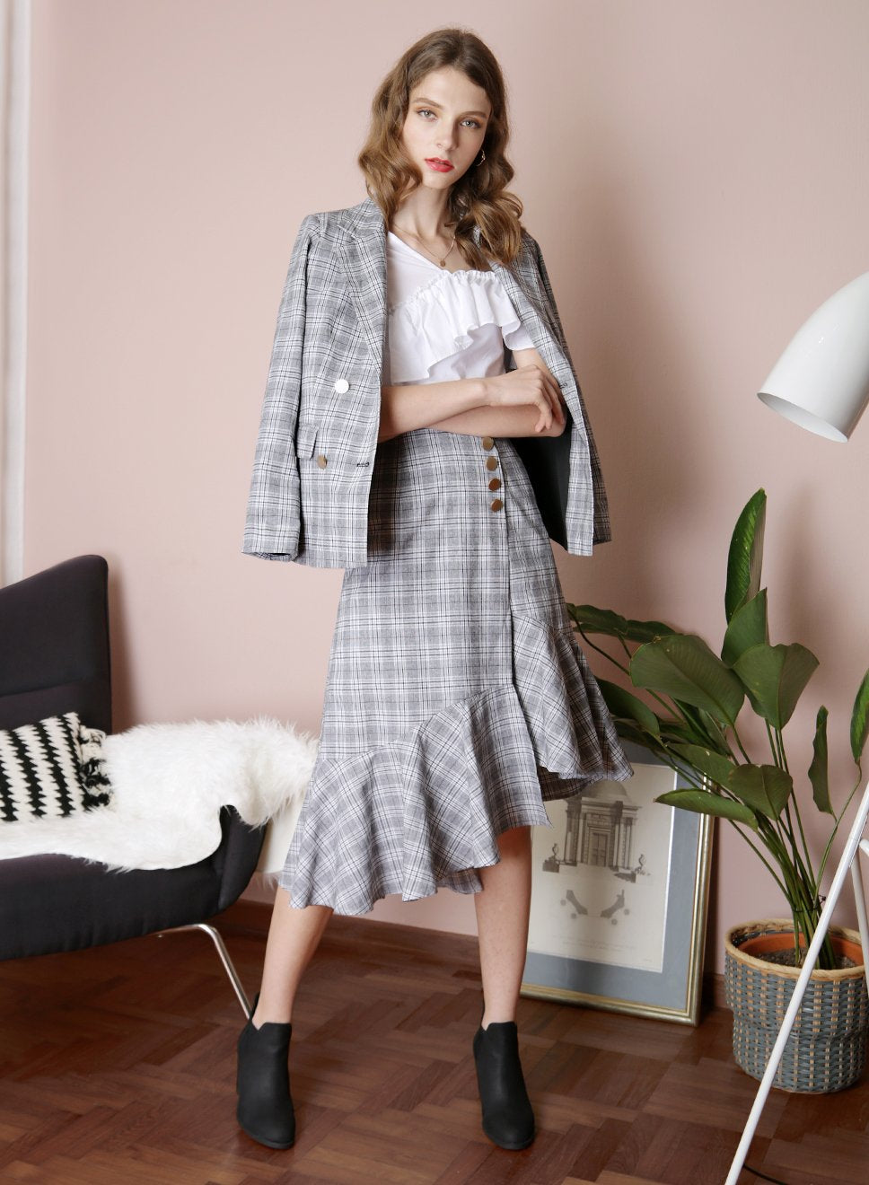 INTUITION Double Buttoned Blazer (Checks) - And Well Dressed