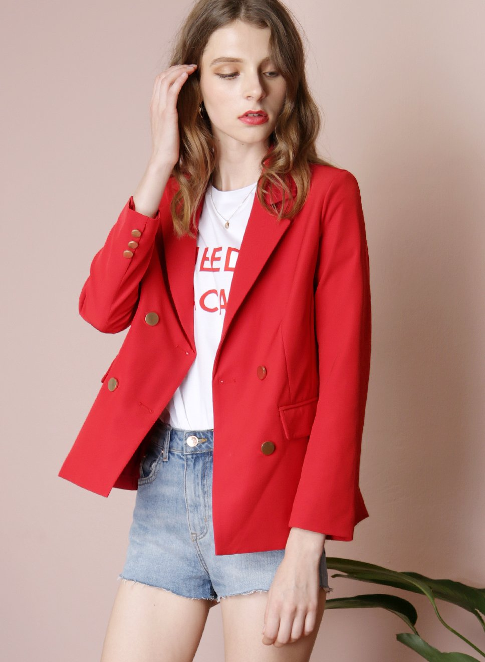 INTUITION Double Buttoned Blazer (Red) - And Well Dressed