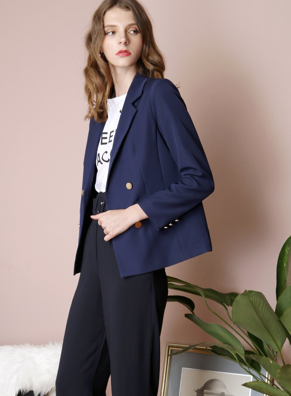 INTUITION Double Buttoned Blazer (Navy) - And Well Dressed
