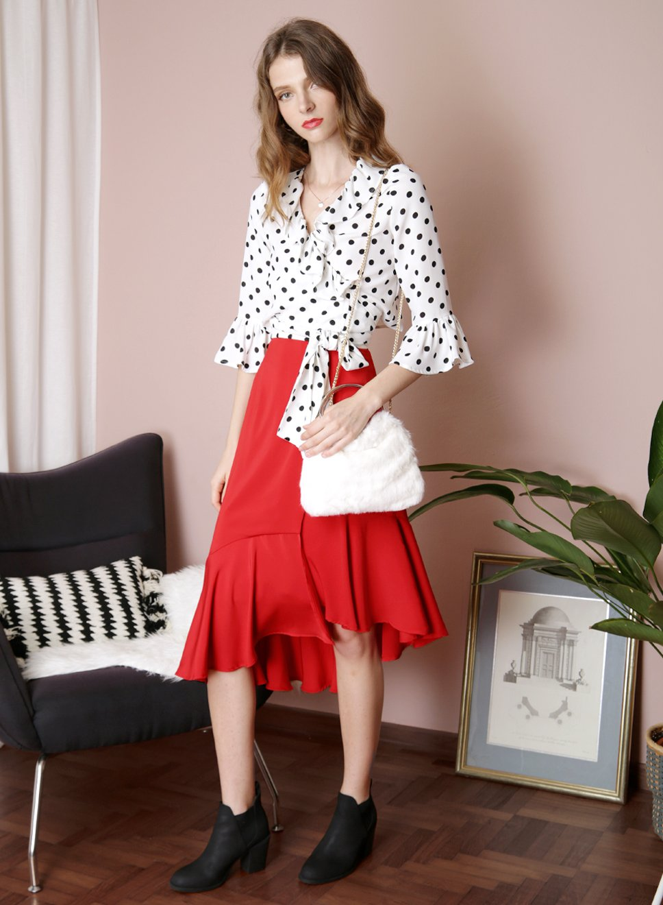 DESIRE Polka Dot Ruffle Wrap Top (White) - And Well Dressed