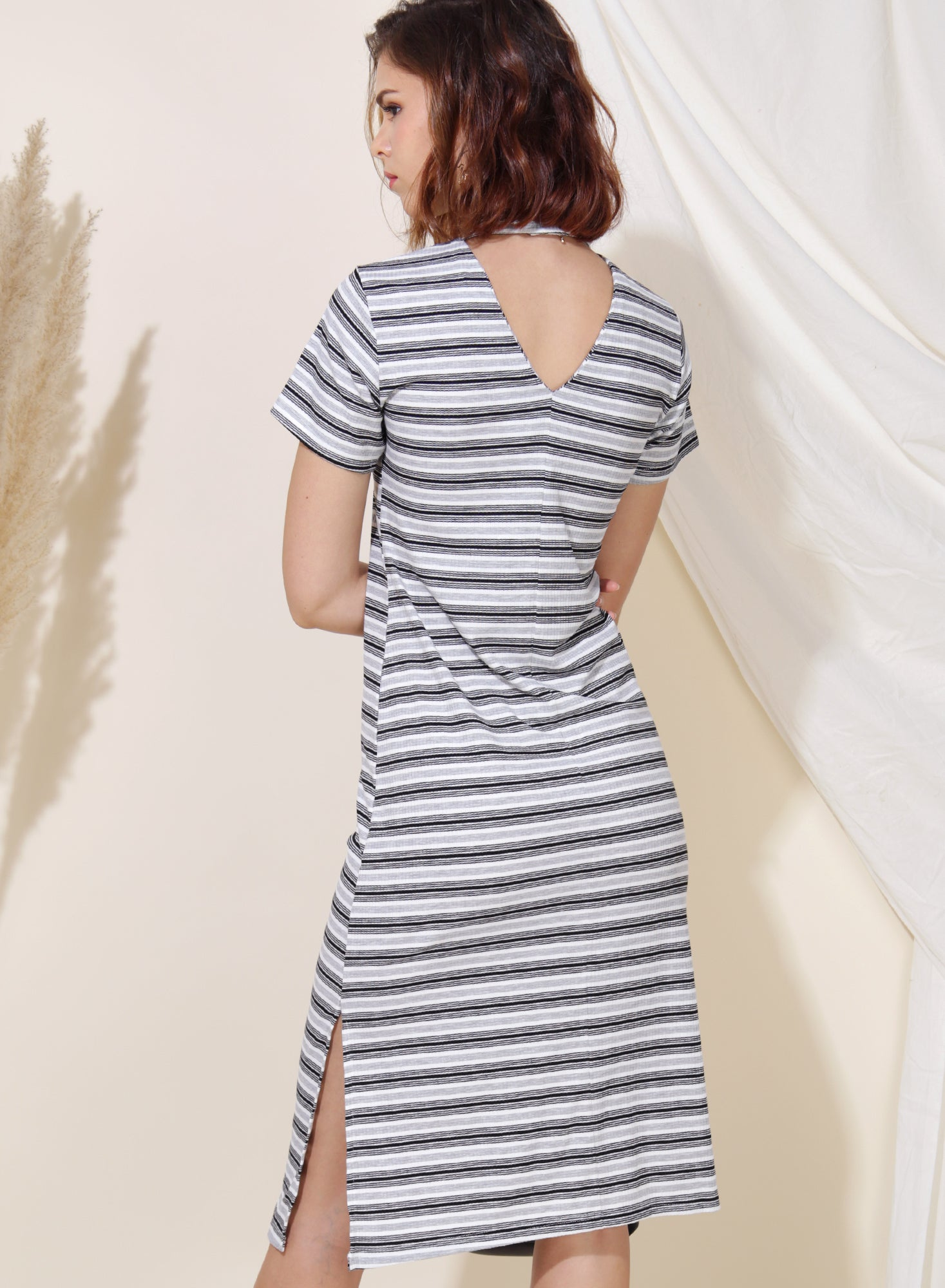 Revolve Ribbed Knit Midi Dress (B/W Stripes)