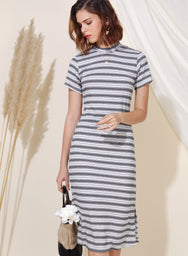 Revolve Ribbed Knit Midi Dress (B/W Stripes) at $ 39.90 only sold at And Well Dressed Online Fashion Store Singapore