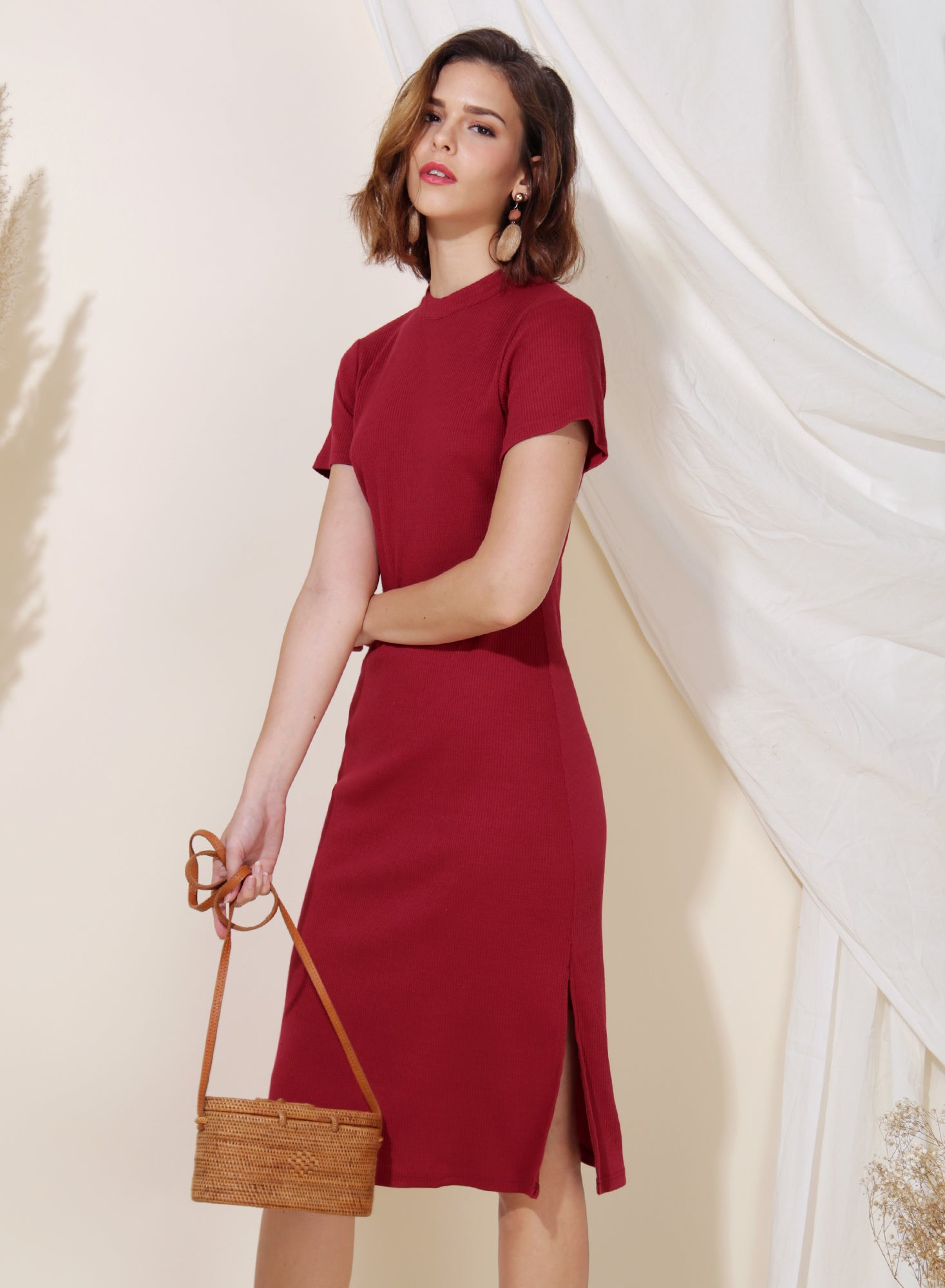 Revolve Ribbed Knit Midi Dress (Cherry)