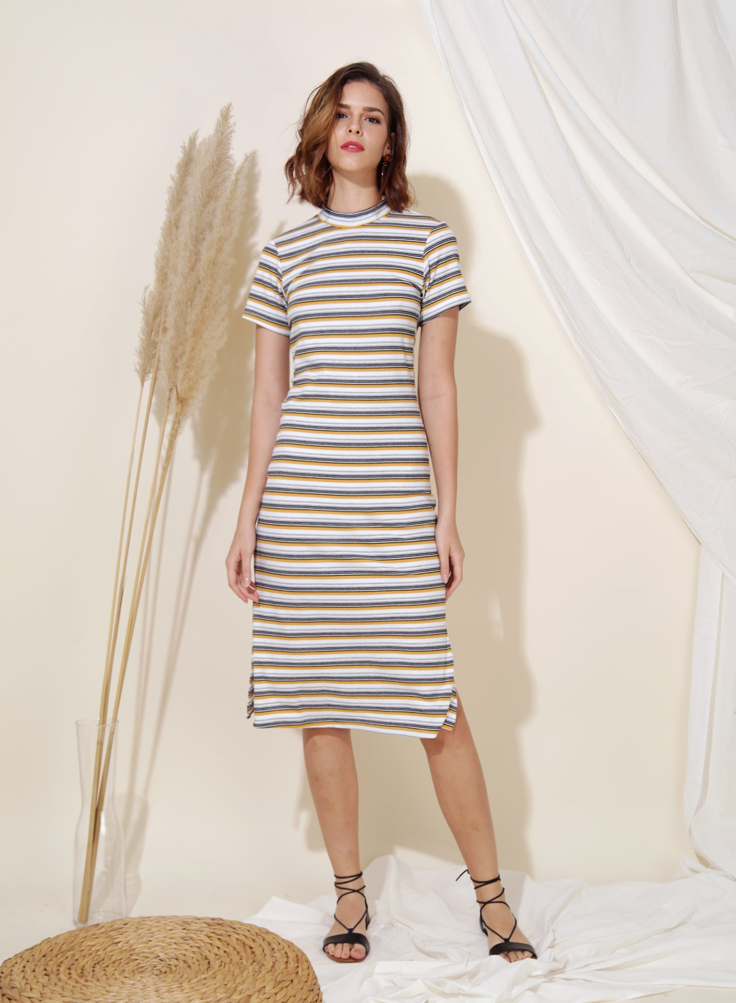 Revolve Ribbed Knit Midi Dress (Yellow Stripes)